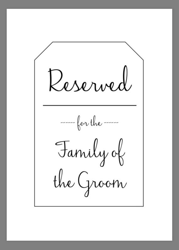 This is an image of Printable Reserved Signs for pinterest wedding guest seating