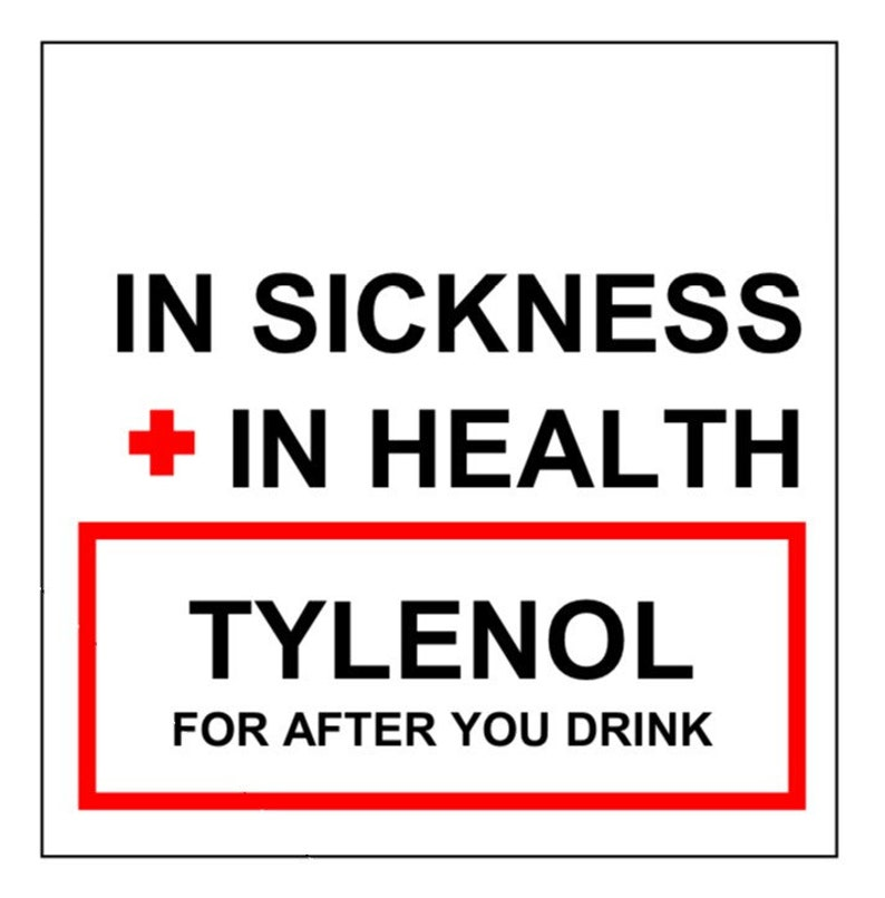 PRINTABLE Hangover Kit In Sickness + In Health Tylenol Tags