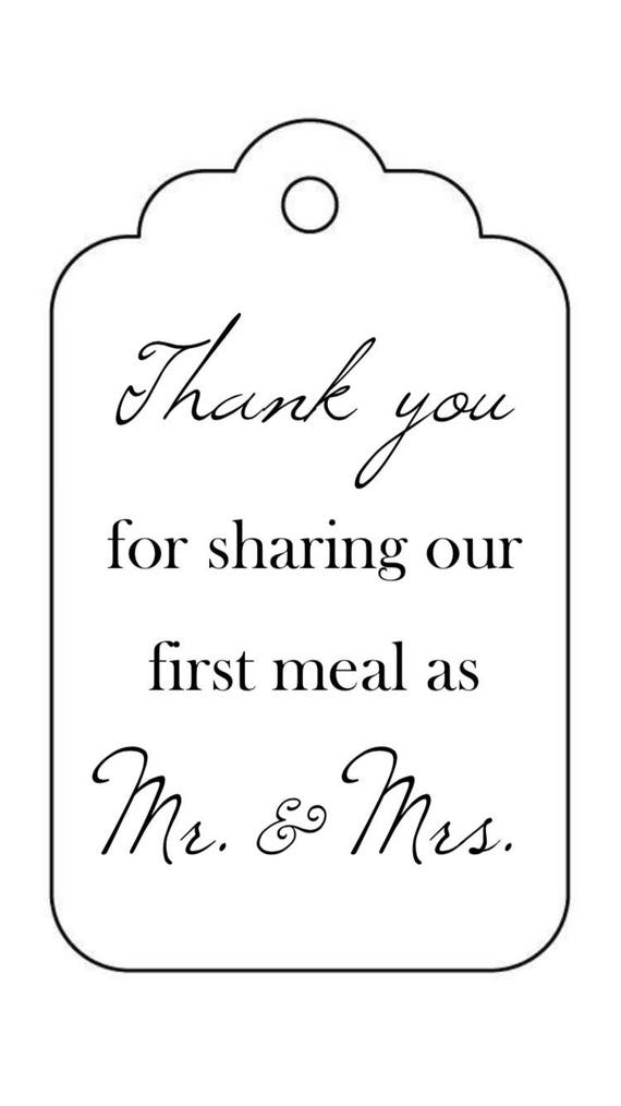 PRINTABLE Wedding Reception Napkin Silverware Tags