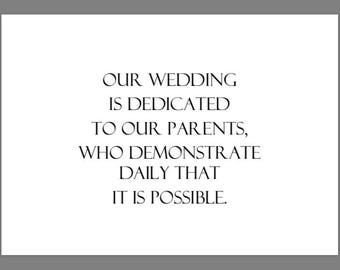 PRINTABLE 5x7 Our Wedding Is Dedicated To Our Parents SIGN