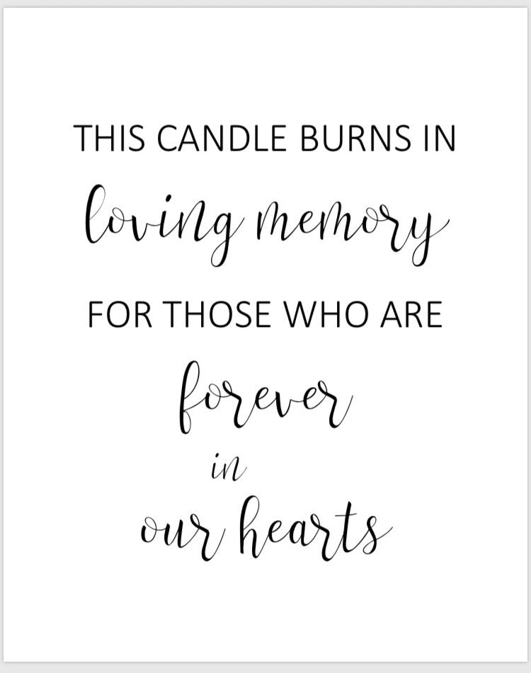 It is a picture of Remarkable This Candle Burns in Loving Memory Free Printable