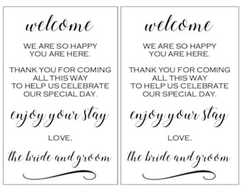 PRINTABLE Wedding Hotel Welcome Bag Note