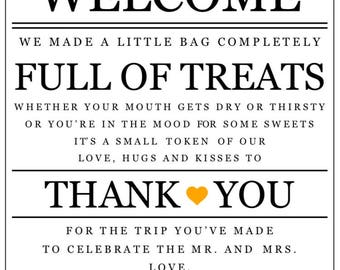 PRINTABLE Wedding Hotel Welcome Bag Note with Gold Heart