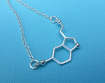 Sterling Silver Serotonin Charm Necklace Pendant Chemical Formula Molecular Structure Science