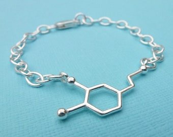 Sterling Silver Dopamine Charm Bracelet Chemical Formula Molecular Structure Science Quirky