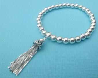 Sterling Silver 925 5mm Round Ball Beaded Stretch Bracelet With Tassel Charm Stacker Bracelets Roodle Rice Noodle Tassle