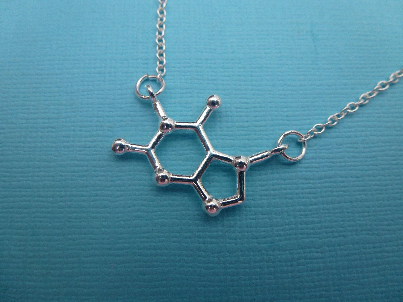 Molécula de chocolate Ciencia estructura química Negro Colgante Collar