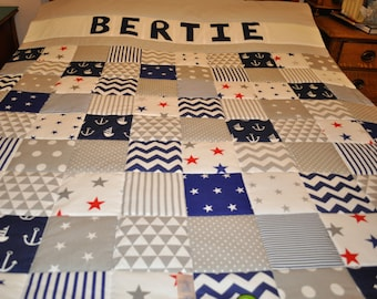 Patchwork Quilt, Personalised Patchwork Quilt, Single Bed Quilt, Nautical Quilt, Grey Navy Patchwork Quilt, Handmade Quilt, Customised Quilt