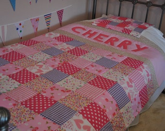 Personalised Patchwork Quilt, Personalised Quilt, Customised Quilt, Handmade Bedding, Single Bed Personalised Patchwork Quilt
