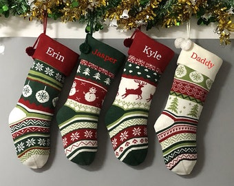 Personalized large knitting monogrammed christmas stockings holidays Decoration Traditional stockings-gift collection bag christmas ornament