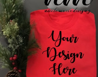 Download Free Red TShirt Mockup, Red TShirt Flat Lay Display, Red TShirt Christmas Mockup, Apparel Display, Vinyl Business Xmas Realistic Mockup PSD Template