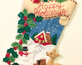 Finished Bucilla Woodland Holidays Christmas Stocking
