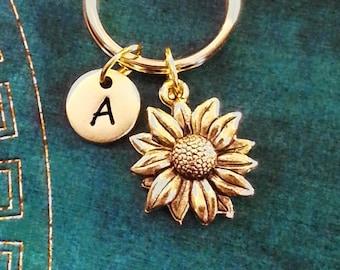 Sunflower Keychain VERY SMALL Gold Sunflower Keychain Flower Keychain Personalized Keychain Initial Keychain Bridesmaid Keychain Monogram