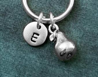 Pear Keychain VERY SMALL Pear Charm Keychain Pear Keyring Fruit Keychain Food Keychain Personalized Keychain Initial Keychain Letter Gift