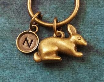 65c7266f44 Rabbit Keychain VERY SMALL Rabbit Keyring Bunny Keychain Easter Bunny  Keyring Bunny Rabbit Charm Keychain Initial Keychain Bronze Brass Gift