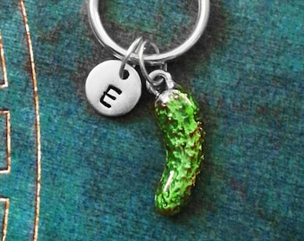 Pickle Keychain VERY SMALL Pickle Keyring Green Pickle Charm Keychain Pendant Keychain Snack Food Keychain Initial Keychain Enamel Keychain
