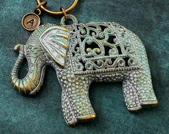 Elephant Keychain Blue Patina Elephant Keyring Filigree Elephant Charm Keychain Indian Elephant Pendant Initial Keychain Personalized Gift