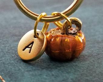 Pumpkin Keychain VERY SMALL Personalized Keychain Pumpkin Keyring Fall Keychain Autumn Keychain Initial Keychain Charm Keychain Halloween