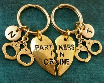 Partners in Crime Keychain SET of 2 SMALL Handcuffs Keychains Heart Charm Personalized Best Friend Keychain Friendship Keychain Sisters Gift
