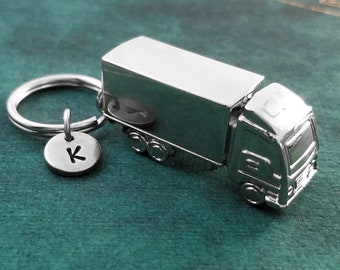 Truck Keychain SMALL Semi-truck Keyring Trucker Gift Travel Keychain Boyfriend Gift Brother Gift Dad Gift Father's Day Keychain Initial