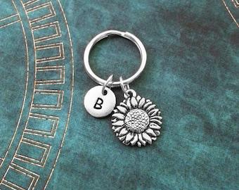 Sunflower Keychain VERY SMALL Silver Sunflower Keychain Flower Keychain Personalized Keychain Initial Keychain Bridesmaid Keychain Monogram