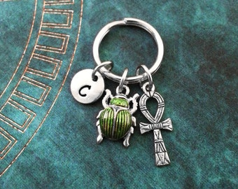 Scarab Beetle Keychain SMALL Silver Ankh Keychain Green Scarab Keychain Personalized Bridesmaid Keychain Egyptian Keychain Beetle Keyring