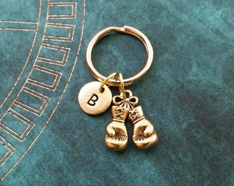 Boxing Gloves Keychain, SMALL Personalized Keychain, Boxing Glove Keychain, Boxing Gift Boxing Necklace Father's Day Keychain Boyfriend Gift