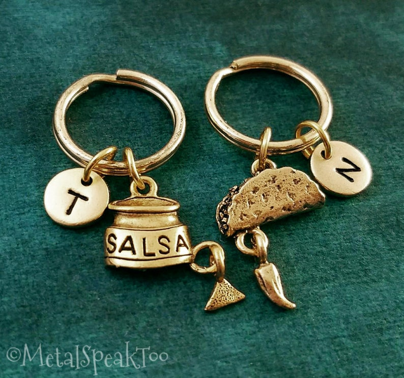 Taco Keychain SET of 2 SMALL Taco and Salsa Keychains Pendant Best Friend Keychain Couples Keychain Friendship Gift Boyfriend Keychain Food