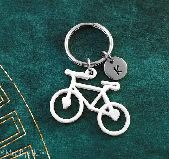 Bike Keychain SMALL White Bike Keyring Bicycle Keychain  b78a3e5b90