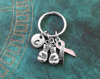 Boxing Gloves Keychain SMALL Personalized Keychain Boxing Glove Keychain Boxing Gift Boxing Necklace Fighter Keychain Cancer Survivor Gift