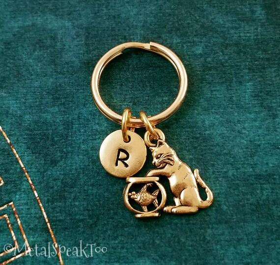 Cat Keychain SMALL Cat Keyring Cat Charm Keychain Kitten  c94cf1d843