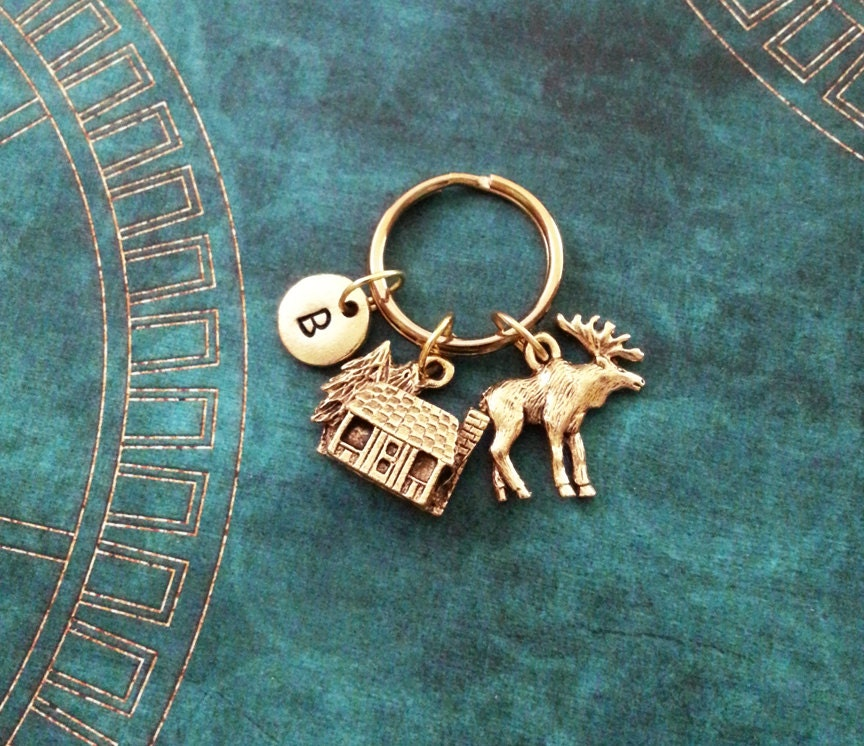 letter advantages cabin keychain small gold moose keychain personalized 5395