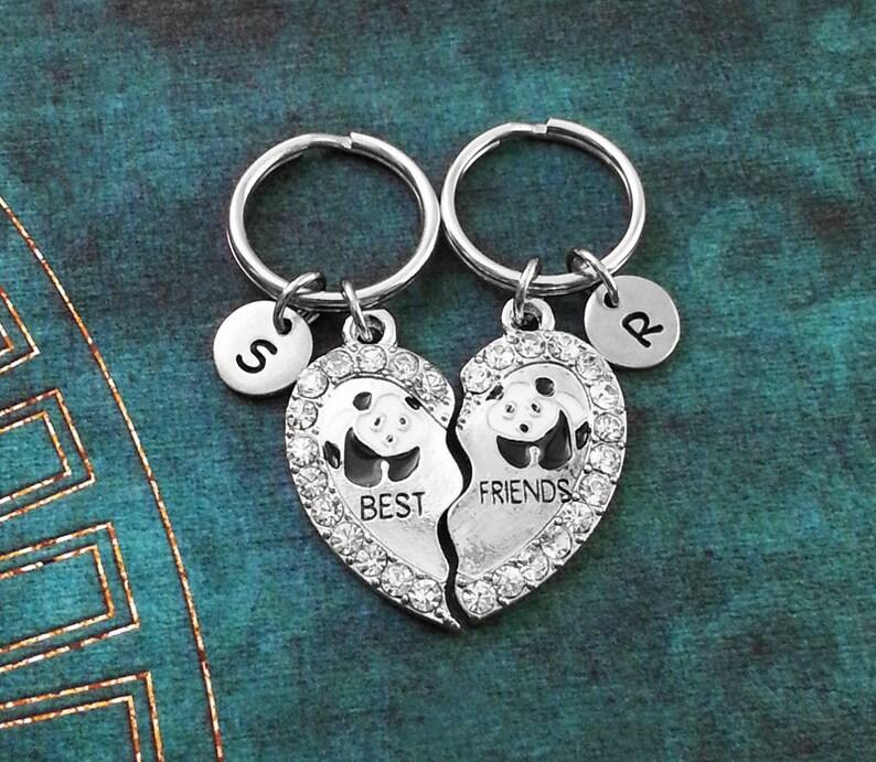 Panda Keychain Friendship Keychains Best Friend Keychain Set Bestfriend Keychain Rhinestone Keychain Broken Heart Keychain Friends Keychain