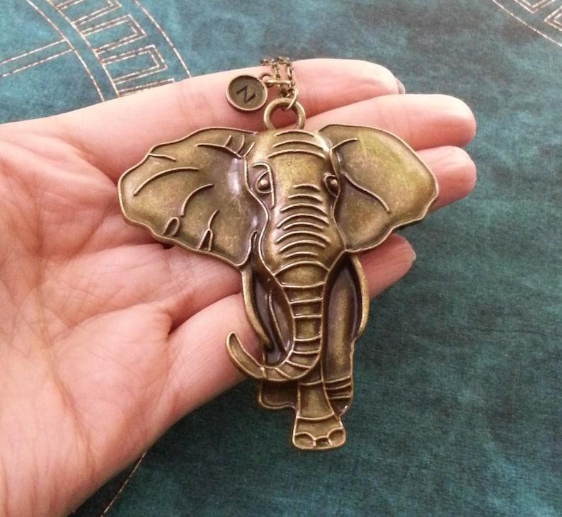 Elephant Keychain LARGE Bronze Elephant Keyring Brass Elephant Charm Keychain Monogram Keychain Safari Animal Keychain Africa Keychain