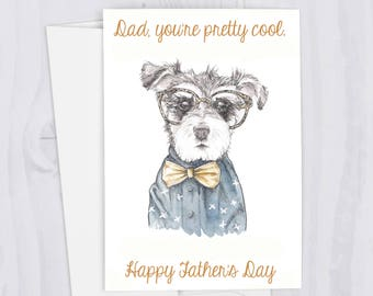 Father's Day Schnauzer Hipster Cool Dog Funny Watercolor Greeting Card