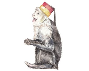 Silly Monkey in Fez Hat Limited Edition Print 8.5x11 Watercolor Jungle Painting