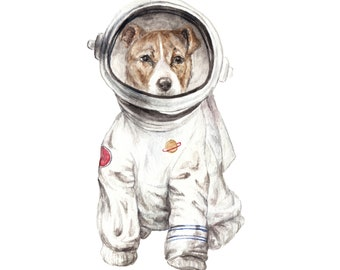 Laika Dog Astronaut Space Puppy Watercolor Limited Edition Print 8.5x11 painting