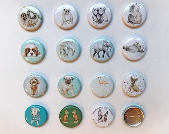 1 Inch Watercolor Animal Button Pins