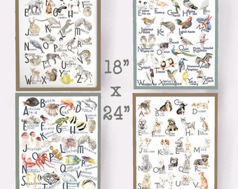 ABC Animal Alphabet Posters 18 x 24 - choose from four - Original Watercolors
