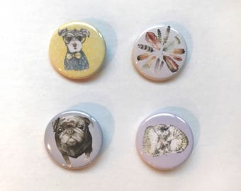 1.25 Inch Watercolor Animal Button Pins
