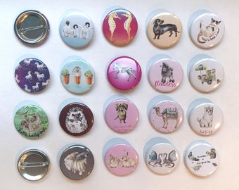 1.5 Inch Watercolor Animal Button Pins