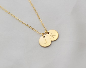 Necklace for Women . Tiny Initial Necklace . 14K Gold Filled Heart Necklace