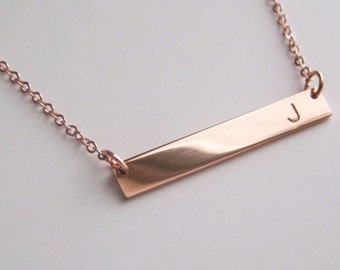 rose gold bar necklace etsy