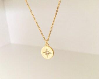 Star pendant etsy star burst necklace north star pendant cz necklace18k gold plate necklace aloadofball Gallery
