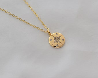 Compass Necklace . Compass Disc with CZ . Dainty Disc Pendant