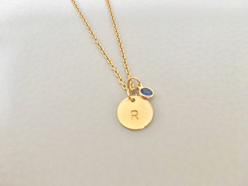circle initial necklace gold  initial,birth stone initial necklace,bridesmaid gift, Initial  birth stone necklace