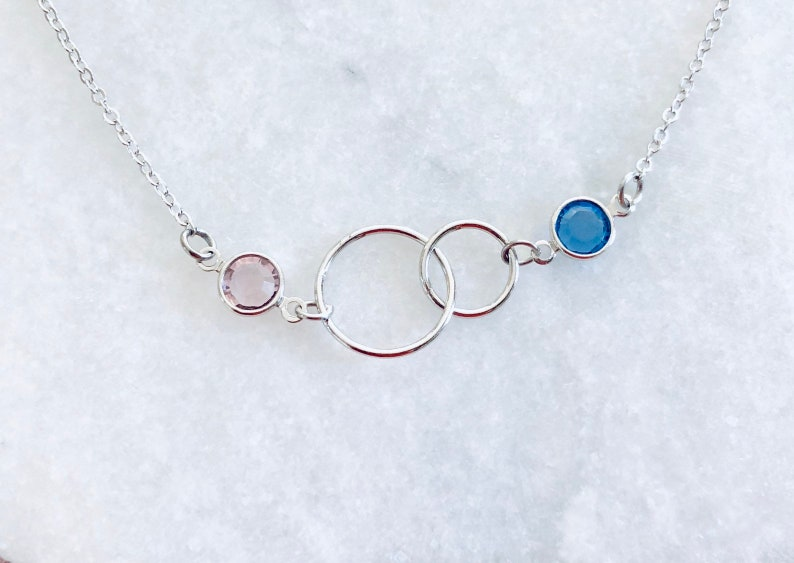 birthstone necklace connection between mother and daughter, 2 circle necklace Mother Daughter Necklaces