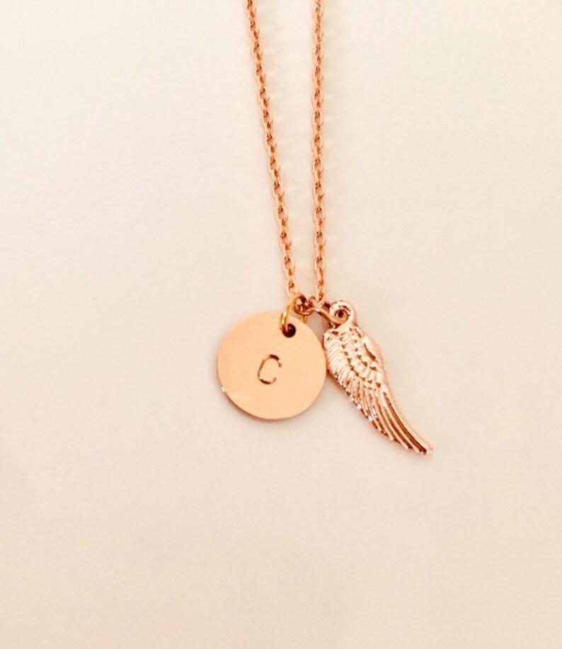 Angel wings Necklace  initial necklacecute necklaceangel image 0