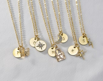 Personalized Charm Necklace . Star and Moon Necklace . Initial Disc Necklace