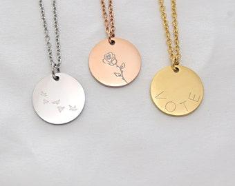 Custom large Disc . Rose Necklace . Vote Necklace. Gift for Mom . Name Disc Necklace . Gift for Her